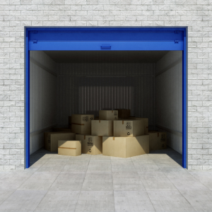 Things forbidden from storage: blue storage unit with boxes inside