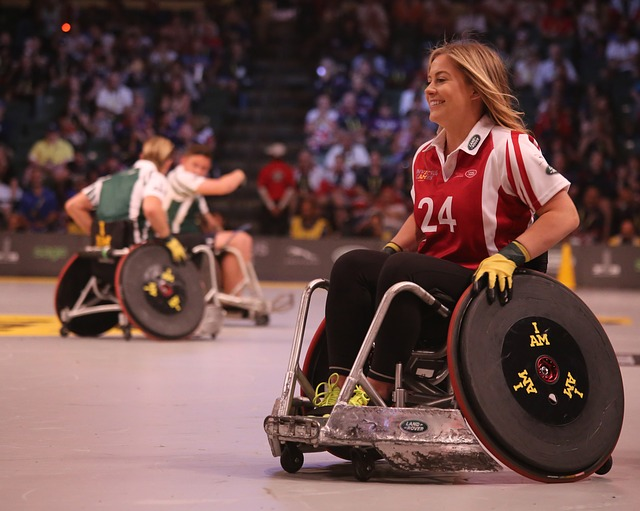 Woman in basketball wheelchair